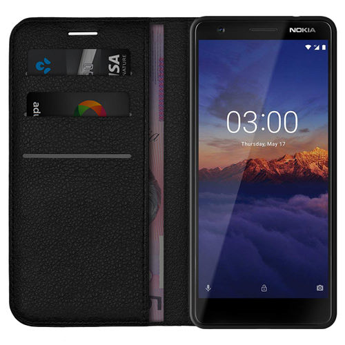 Leather Wallet Case & Card Holder Stand for Nokia 3.1 - Black